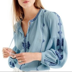 J. Crew Blue Peasant Blouse - 2